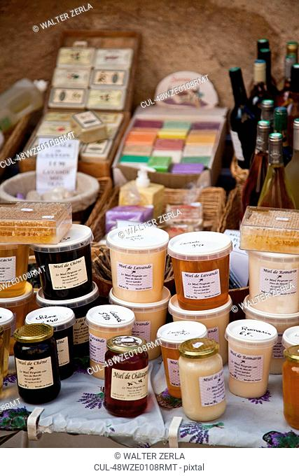 Table of homemade jam and soap
