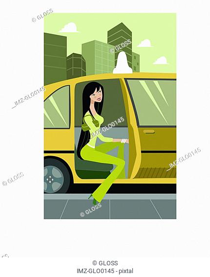 Side view of a woman getting out of a taxi cab, full-length
