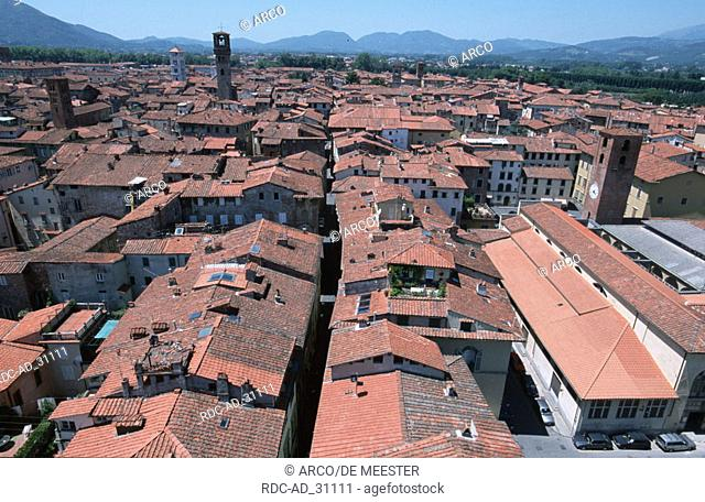 View on palace and tower Guingi Lucca Tuscany Italy