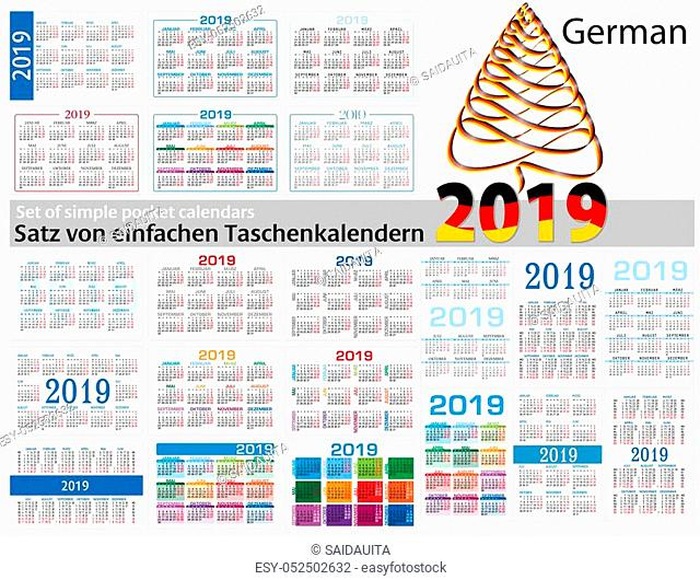 Set of simple calendars in German on 2019 Two thousand nineteen. Week starts Monday