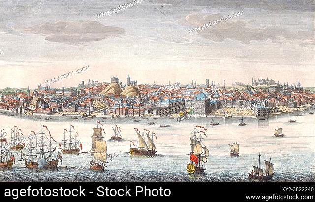 Lisbon, Portugal, in the mid-1700's. After a print by an unknown artist published by Robert Sayer in 1752