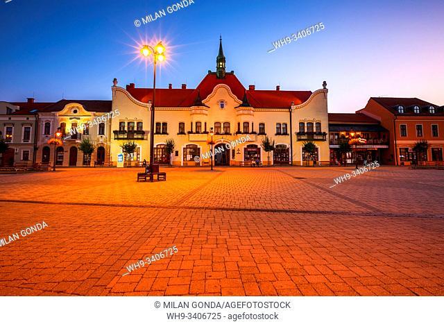Topolcany, Slovakia - September 12, 2019: Historical Art Nouveau town hall in the main square of Topolcany, Slovakia