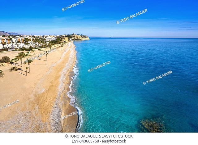 Paradis or Paraiso beach playa in Vila Joiosa of Alicante of Spain also Villajoyosa of Costa Blanca