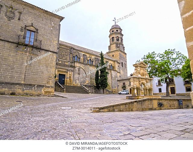 Cathedral and Santa Maria Fountain Baeza. Jaén. Andalusia. Spain