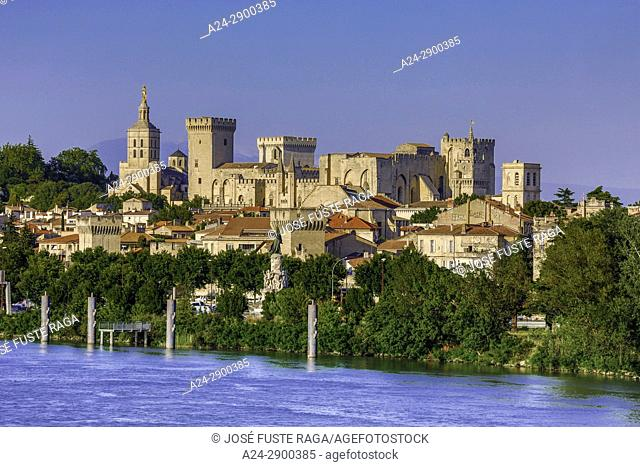 France, Provence region, Avignon city, the Popes Palace , skyline, Rhone river, W. H. ,