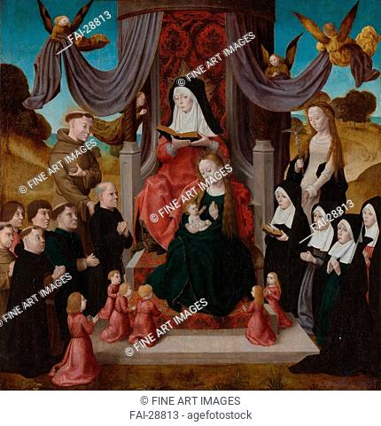 The Virgin and Child with Saint Anne (Anna Selbdritt), Saints Francis, Lidwina and donors by Netherlandish master /Oil on wood/Early Netherlandish Art/c