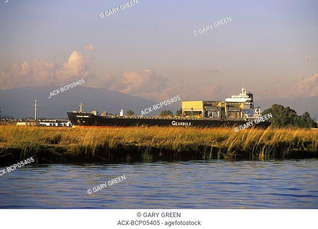 Freighter, Fraser River Delta, Lower Mainland, British Columbia, Canada