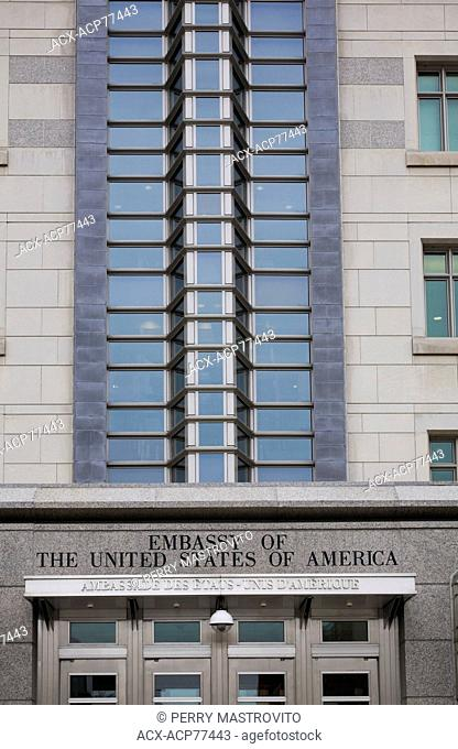 The United States of America (US) embassy building facade in Ottawa, Ontario, Canada
