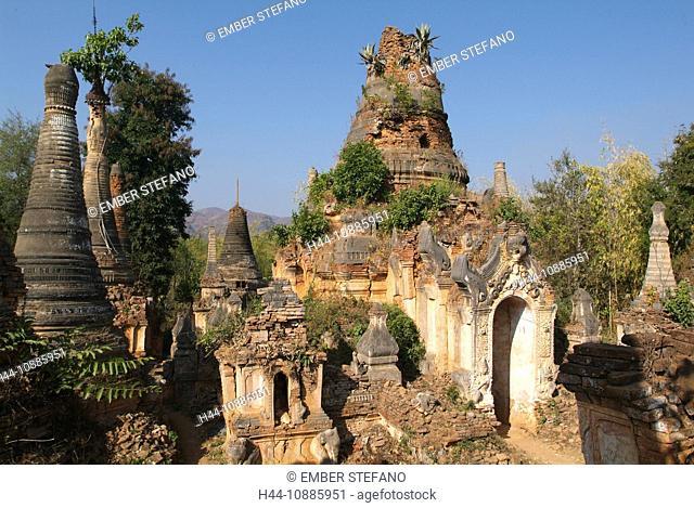 Asia, Burma, Myanmar, lake Inle, Indain, old, pagoda, Shwe in Tain