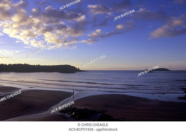 View of MacKenzie beach at sunrise from Middle Beach Lodge, Tofino, Vancouver Island, British Columbia, Canada