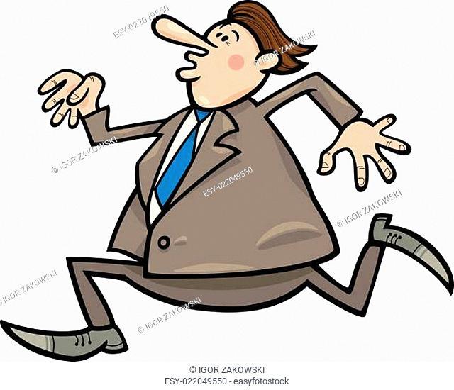 running overweight businessman