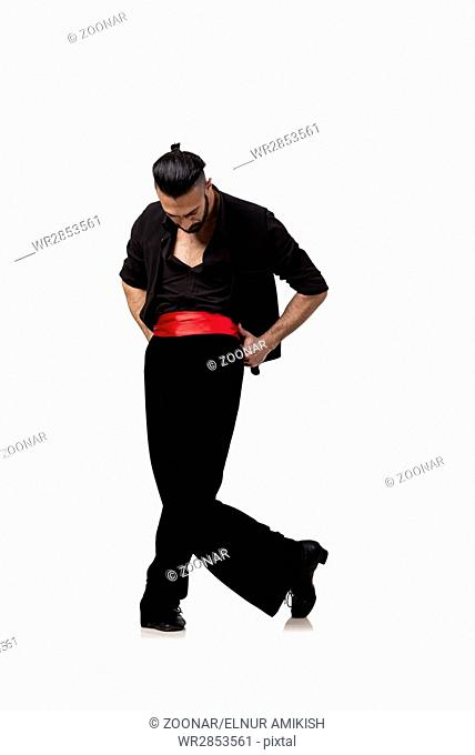 Man dancer dancing spanish dances isolated on white