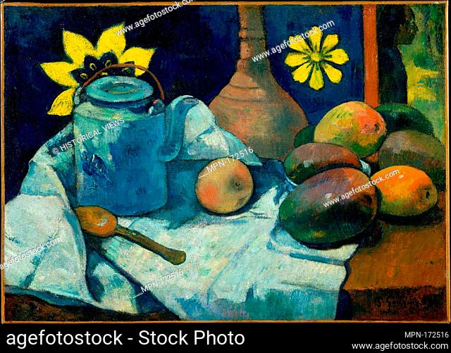 Still Life with Teapot and Fruit. Artist: Paul Gauguin (French, Paris 1848-1903 Atuona, Hiva Oa, Marquesas Islands); Date: 1896; Medium: Oil on canvas;...
