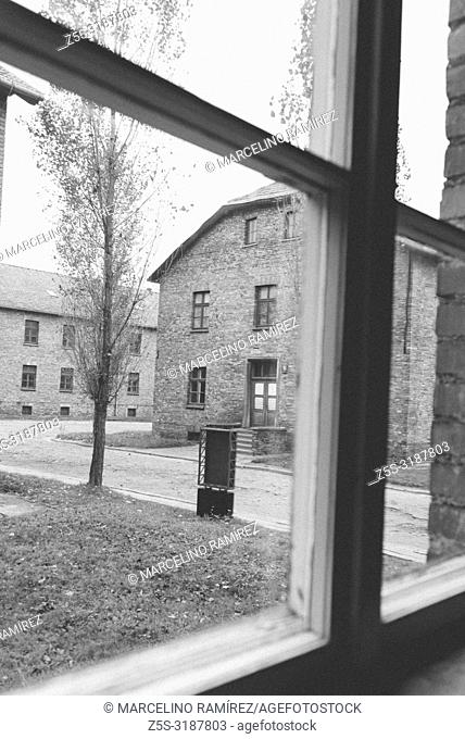 Auschwitz Nazi concentration and extermination camp. Barracks seen from a window. Auschwitz, German-occupied, Poland, Europe