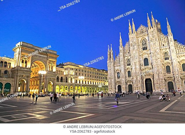 Piazza del Duomo and the front entrances of the Duomo and Galleria Vittorio Emanuele in Milan Italy