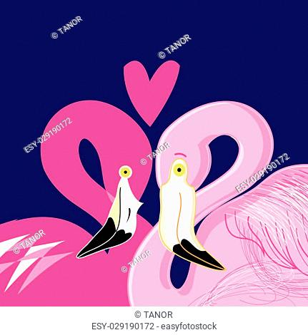 graphics in love pink flamingos on a blue background