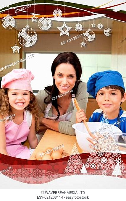 Mother and her children preparing dough