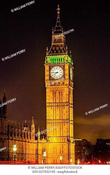 Big Ben Tower Night Houses of Parliament Westminster London England. Named after the Bell in the Tower. Has kept exact time since 1859