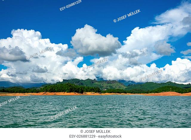 nam ngum reservoir in laos,landscape with lake and islands