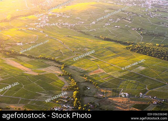 Vineyards and village in Beaujolais land in France
