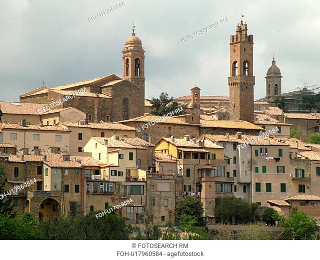 Italy, Montalcino, Tuscany, Toscana, Europe, View of the medieval hill town of Montalcino in Tuscany