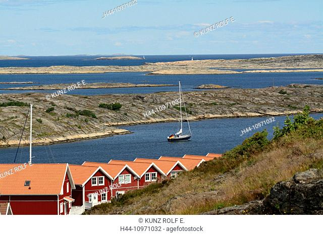 Smögen, red cottages, sailing boat, sea, Skagerak, rocks, Sotenäs, Kommun, Västra Götalands Län, Schweden, Europa