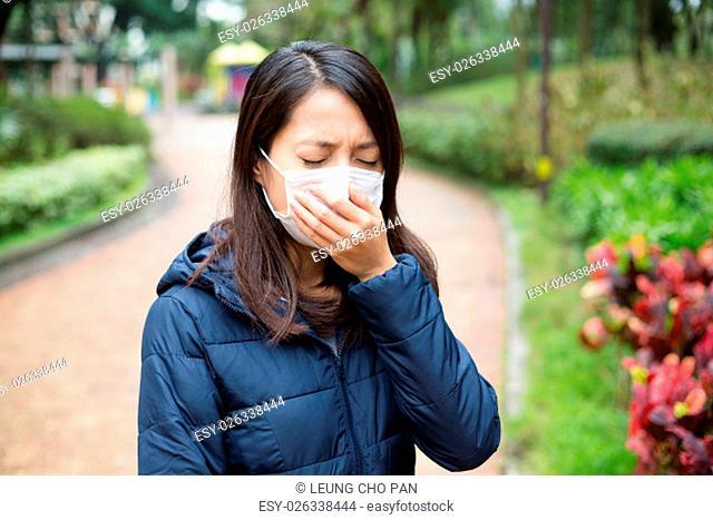 Asian Woman wear facemask outdoor