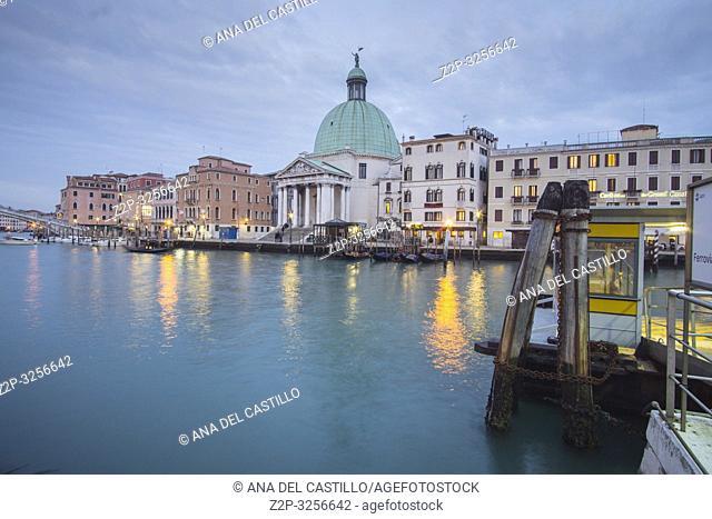 Venice, Veneto, Italy: Twilight in Grand Canal. Chiesa dei Santi Simeone e Giuda