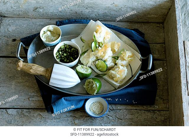 Fried cod with two dips