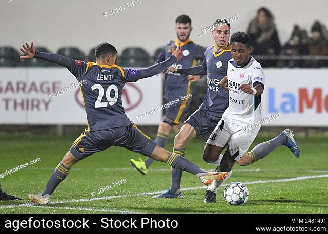 OHL's Amir Lemti and Virton's Lucas Ribeiro Costa fight for the ball during a soccer game between RE Virton and Oud Heverlee Leuven (OHL)