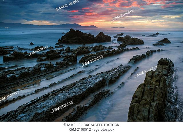 Barrika beach at dusk. Biscay, Basque Country, Spain, Europe