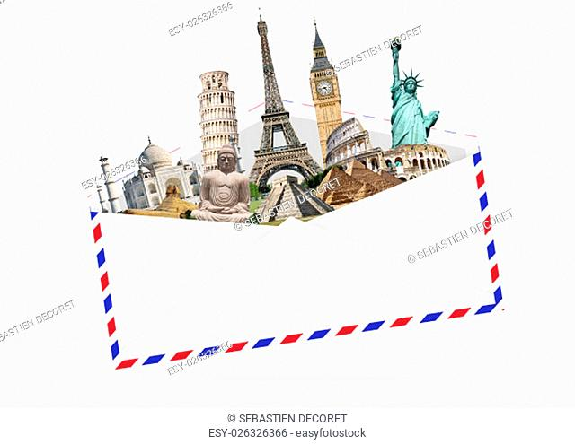 Famous monuments of the world grouped together in an envelope