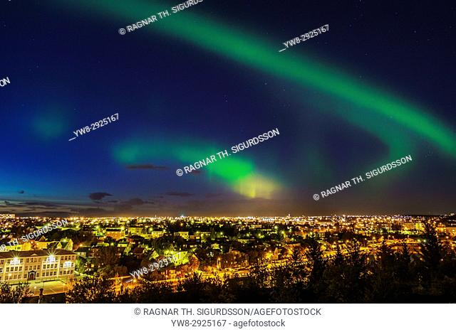 Aurora Borealis or Northern Lights, Suburb of Reykjavik, Hafnarfjordur, Iceland