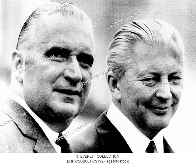 French President Georges Pompidou (left) with West German Chancellor Kurt Kiesinger. It is Pompidou's first official visit abroad as head of state