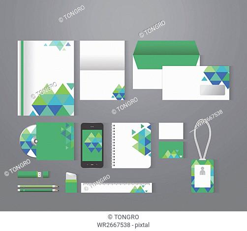 Set of various stationary with patterns of green triangles