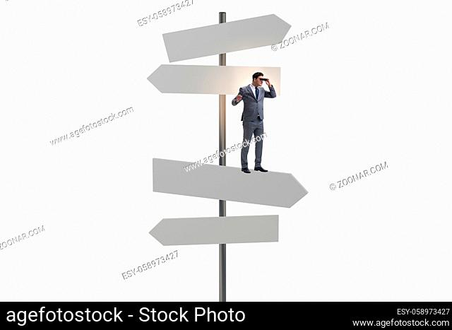 Businessman at the crossroads choosing the strategy