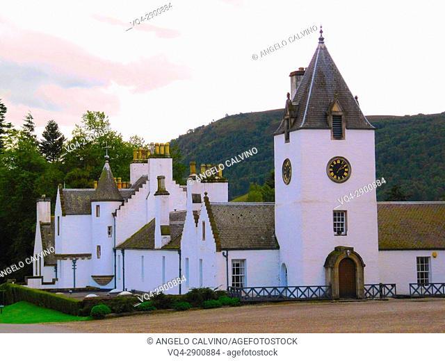 Clock Tower of the Blair Castle, Blair Atholl, United Kingdom, Scotland, Perth and Kinross