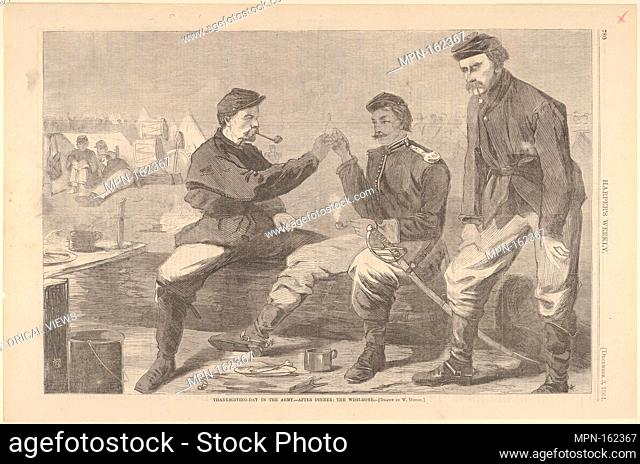 Thanksgiving Day in the Army - After Dinner: The Wish-Bone - Drawn by Winslow Homer (Harper's Weekly, Vol. VIII). Artist: Winslow Homer (American, Boston