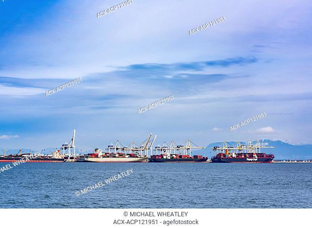 Container ships at Roberts Bank Terminal, Delta, British Columbia, Canada