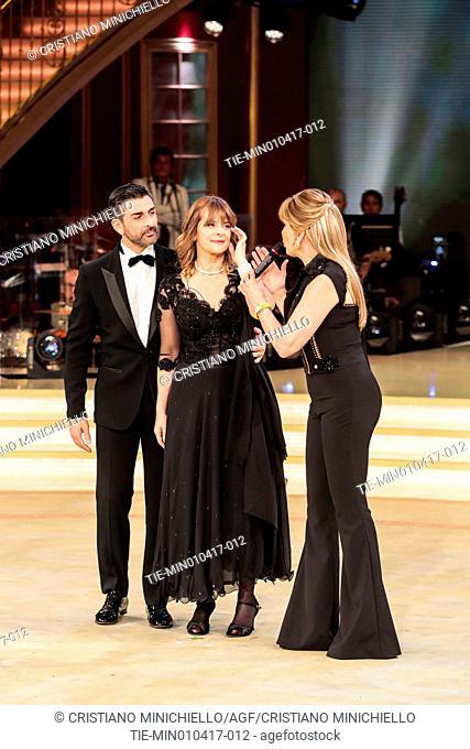 The actress Nastassja Kinski with the dance teacher Samuel Peron and Milly Carlucci during the tv show Ballando con le stelle, Rome, ITALY-01-04-2017