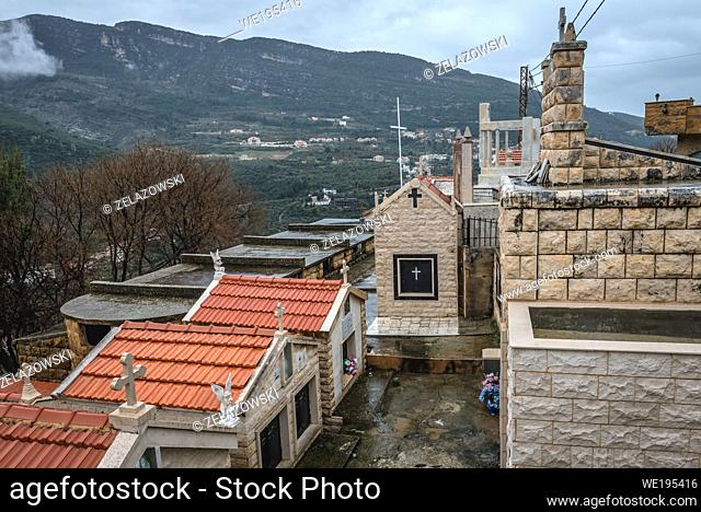 Cemetery next to Saint Michael Maronite Church in Sereel village known also as Siriil, located in Zgharta District in North Governorate of Lebanon