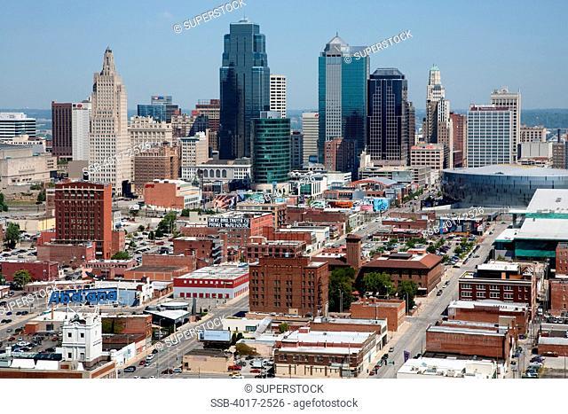 Crossroads and Power and Light District with Kansas City skyline, Missouri, USA