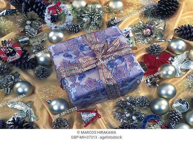 Christmas ornaments, gift boxes