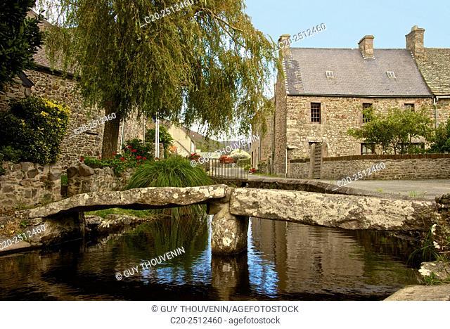 Brook in Vauville village, with bridge , Vauville, Cotentin, Normandy, France