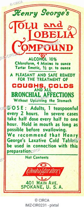 vintage label for medicine