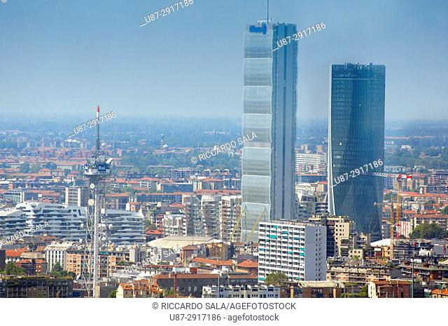 Italy, Lombardy, Milan, Skyline, Left Allianz Tower Called Il Dritto Right Hadid Tower Called Lo Storto