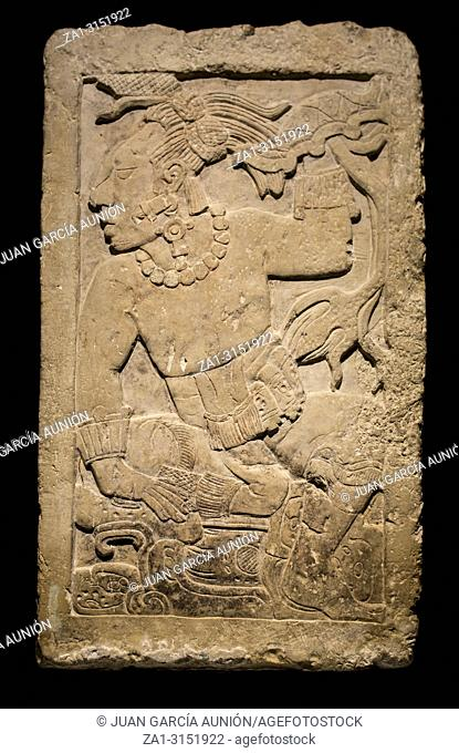 Madrid, Spain - Sept 8th, 2018: Stele of Madrid Museum of the Americas, Madrid, Spain. Isolated over black background