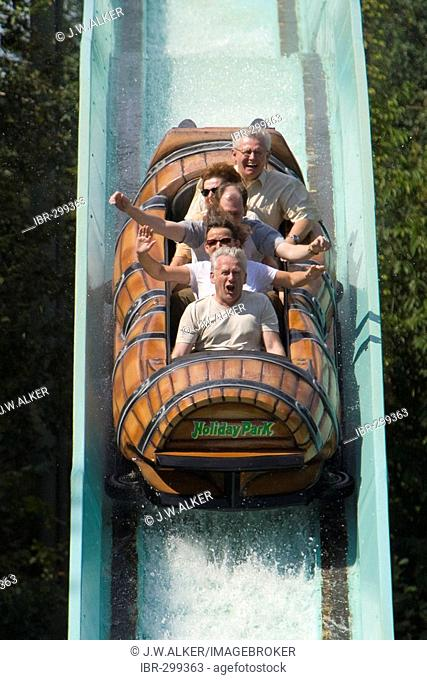 Water roller coaster in the Holidaypark, Hassloch, Rhineland-Palatinate, Germany