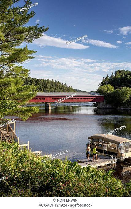 Wakefield Covered Bridge, a wooden replica of the 1915 Gendron Covered Bridge at Wakefield, Quebec that burned down in 1984