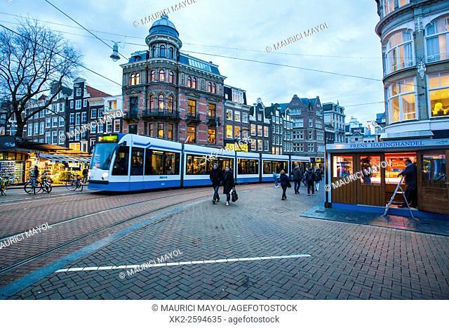 Tram in Koningsplein corner near bloemenmarkt, Amsterdam, The Nederlands